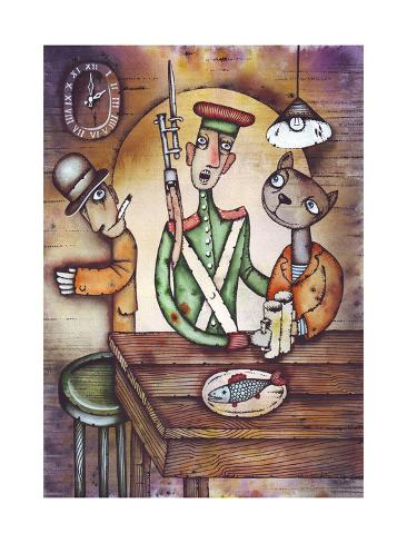 In Tavern. Illustration by Eugene Ivanov. Art Print