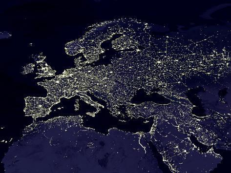 Europe at night satellite image photographic print allposters europe at night satellite image gumiabroncs Gallery