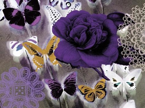 Butterfly Collage Purple Art Print