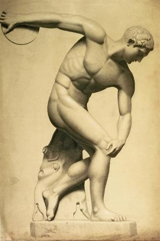 Discus Thrower, Drawing of a Classical Sculpture, C.1874 Stampa giclée