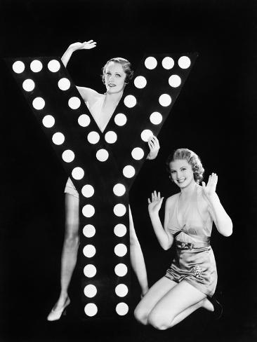 Two Young Women Posing with the Letter Y Photographic Print