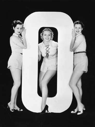 Women Posing with Huge Letter O Photographic Print