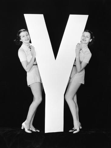 Women Posing with Huge Letter Y Photographic Print