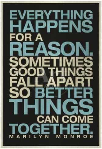 Things Happen For A Reason Quotes Everything Happens For a Reason Marilyn Monroe Quote Posters at  Things Happen For A Reason Quotes