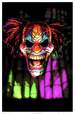 Evil Clown Face Blacklight Poster