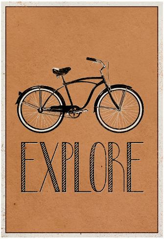 Explore Retro Bicycle Player Art Poster Print Poster