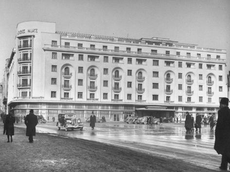 Exterior of Famous Athenee Palace Hotel Stretched Canvas Print