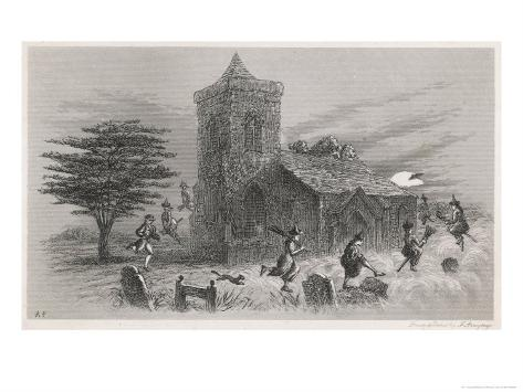 North Berwick Witches: Dr. Fian and Companions Fly Round a Church as They Confess to King James Vi Giclee Print