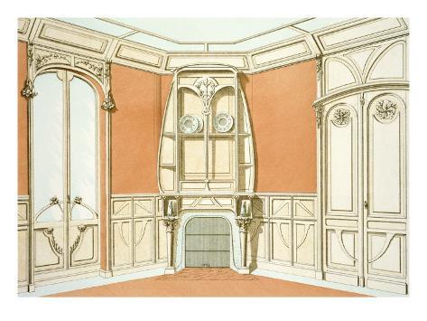 interior design for a dining room illustration from 39 menuiserie d 39 art nouveau 39 published. Black Bedroom Furniture Sets. Home Design Ideas