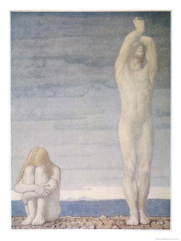 Adam and Eve Despair Learning That They are to be Expelled from Eden Lámina giclée