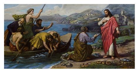 Jesus and the Fishermen Art Print