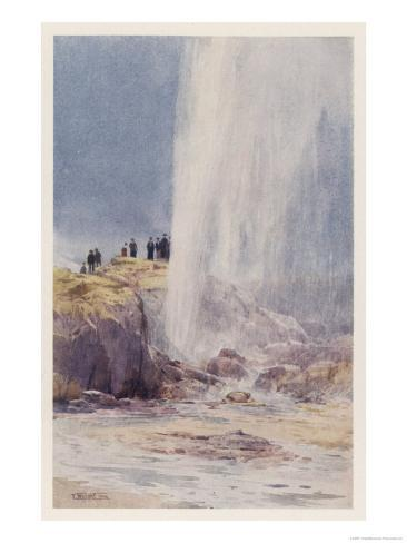 The Eruption of Wairoa Geyser in New Zealand Giclee Print