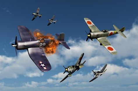 オールポスターズの f4u corsair aircraft and japanese nakajima