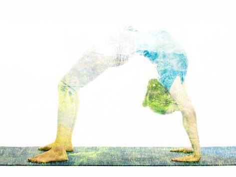 Nature Harmony Healthy Lifestyle Concept - Double Exposure Image of Woman Doing Yoga Asana Upward B Lámina fotográfica