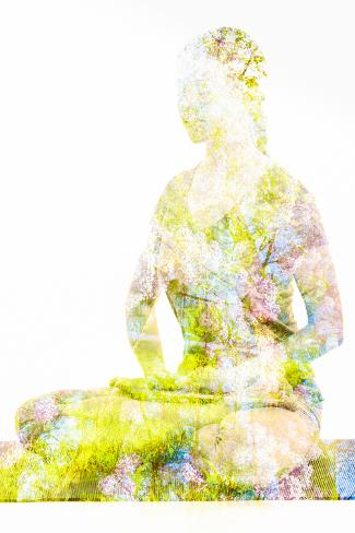 Nature Harmony Healthy Lifestyle Concept - Double Exposure Image of Woman Doing Yoga Lotus Position Lámina fotográfica
