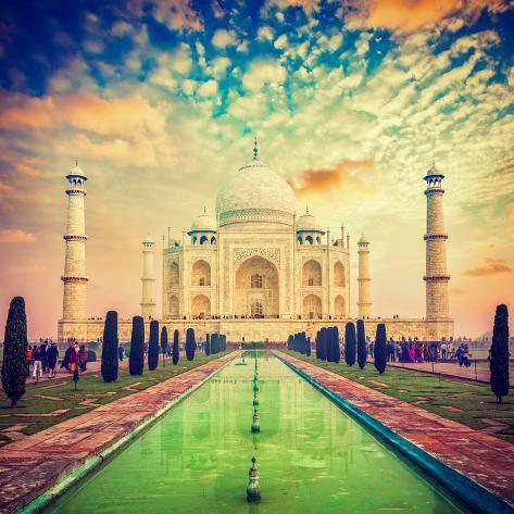 Taj mahal on sunrise sunset agra india photographic for Agra fine indian cuisine menu