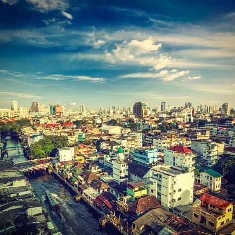 Vintage Retro Hipster Style Travel Image of Bangkok Aerial View . Thailand Valokuvavedos