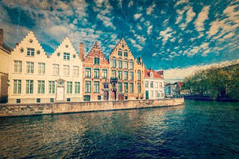 Vintage Retro Hipster Style Travel Image of Bruges Canals. Brugge, Belgium with Grunge Texture Over Valokuvavedos
