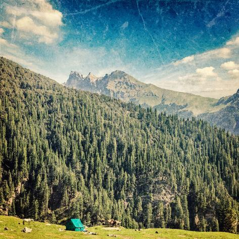 Vintage Retro Hipster Style Travel Image of Camp Tent in Himalayas Mountains with Overlaid Grunge T Valokuvavedos
