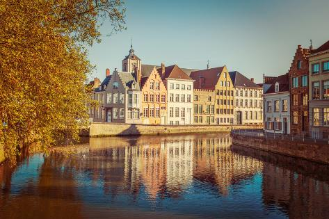 Vintage Retro Hipster Style Travel Image of Canal and Medieval Houses. Bruges (Brugge), Belgium Valokuvavedos