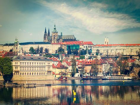 Vintage Retro Hipster Style Travel Image of Charles Bridge over Vltava River and Gradchany (Prague Valokuvavedos