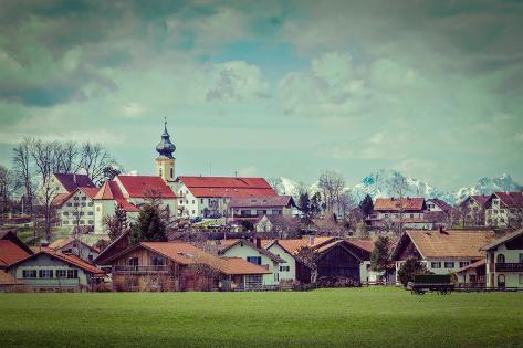 Vintage Retro Hipster Style Travel Image of German Countryside and Village. Bavaria, Germany Valokuvavedos