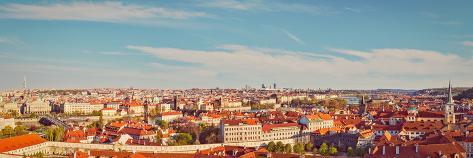 Vintage Retro Hipster Style Travel Image of Panorama View of Prague from Prague Castle. Prague, Cze Valokuvavedos