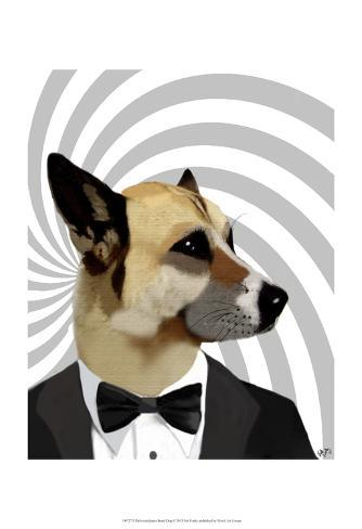 Debonair James Bond Dog Stampa artistica