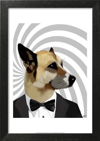 Debonair James Bond Dog Framed Art Print