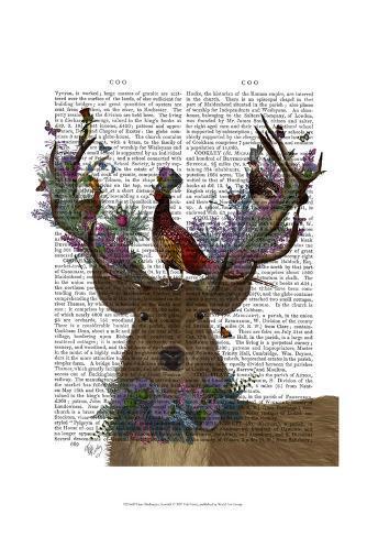 Deer Birdkeeper, Scottish Art Print