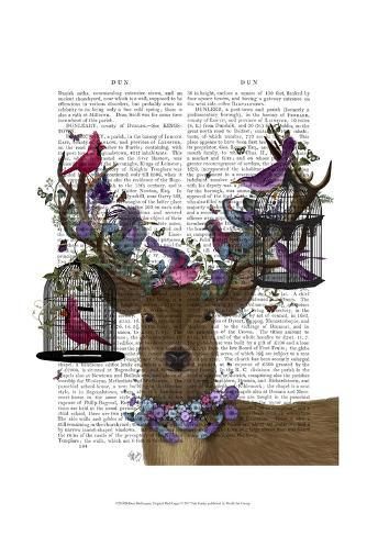 Deer Birdkeeper, Tropical Bird Cages Art Print