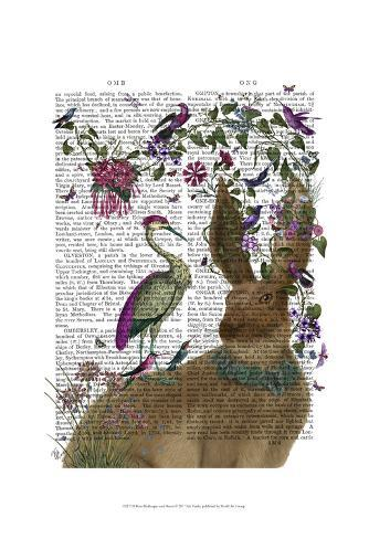 Hare Birdkeeper and Heron Art Print