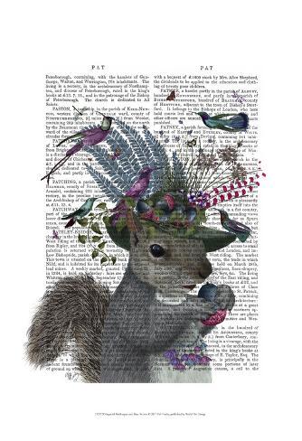 Squirrel Birdkeeper and Blue Acorns Art Print