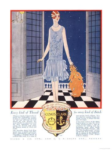 Fabrics, Threads, Womens Art Deco, UK, 1920 Giclee Print