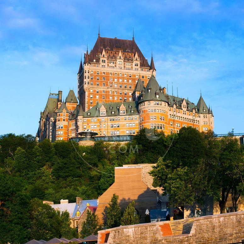 Facade of Chateau Frontenac in Lower Town, Quebec City, Quebec ...