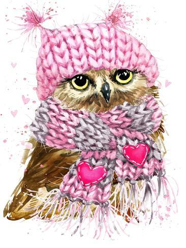 Image of: Glasses Cute Owl Watercolor Illustration For Tee Shirt Graphics Fashion Print Poster Textiles Prints By Faenkova Elena At Allposterscom Allposterscom Cute Owl Watercolor Illustration For Tee Shirt Graphics Fashion