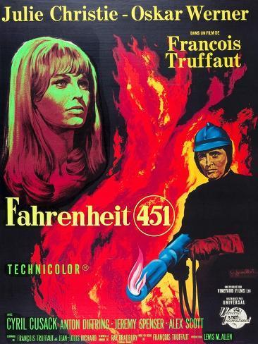 Fahrenheit 451, Julie Christie, Oskar Werner, 1966 Konstprint