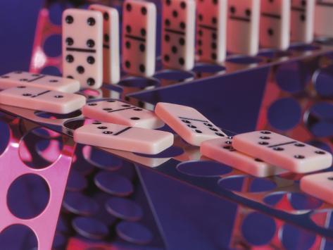 Fallen Set of Dominoes Photographic Print