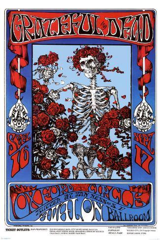 Family Dog - Grateful Dead - Skeleton & Roses Poster