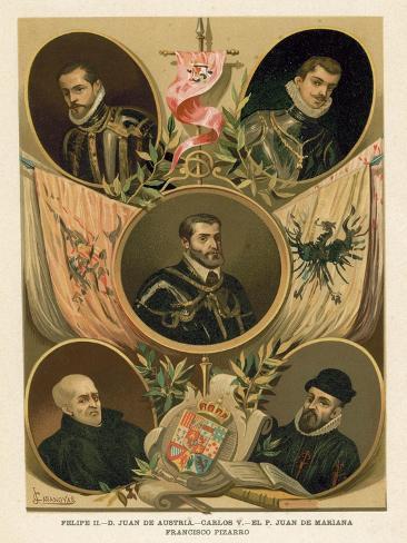 Famous Spanish Historical Figures of the 16th Century Lámina giclée
