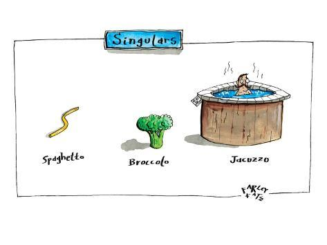The labels beneath images of spaghetti, broccoli, and a jacuzzi, give thei… - New Yorker Cartoon Premium-giclée-vedos