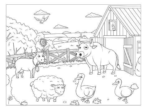 Farm - Kids Design Coloring Art Póster en AllPosters.es