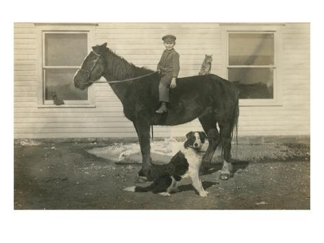 Farmboy with Cat on Horse and Dog Art Print