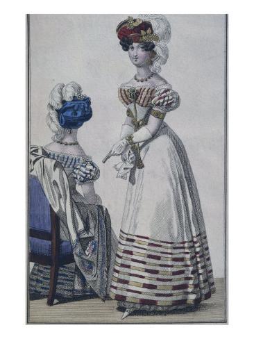 Fashion Plate, Paris, Illustration from 'Le Petit Courrier Des Dames', C.1820 Stretched Canvas Print