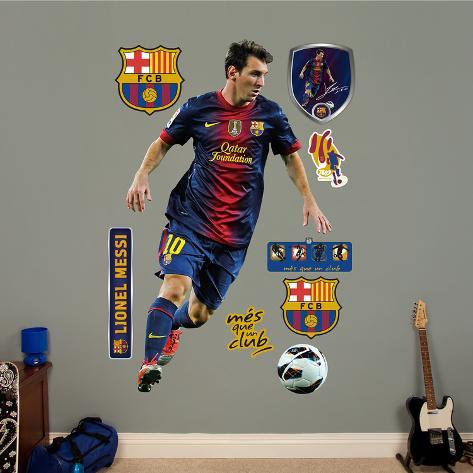 fc barcelona lionel messi wall decal sticker wall decal at. Black Bedroom Furniture Sets. Home Design Ideas