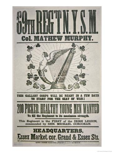 Federal Recruiting Poster For 69th Regiment, Appealing to Irish Immigrants Giclee Print