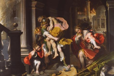 Aeneas' Flight from Troy, 1598 Stampa giclée