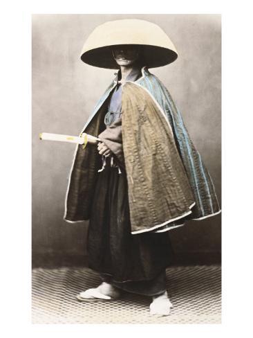 Japanese Samurai in Traditional Costume, 1868 Giclee Print
