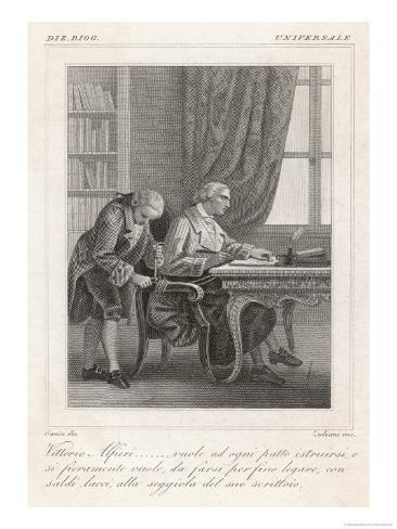 Vittorio Alfieri Italian Author Instructing His Servant to Tie Him to His Writing Chair Giclee Print