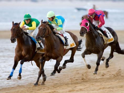 Horse Racing on the Beach, Sanlucar De Barrameda, Spain Photographic Print